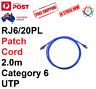 Ethernet Network blue cable Clipsal Patch cord 2m RJ6/20PL Cat 6 Cat6 +Free GIFT