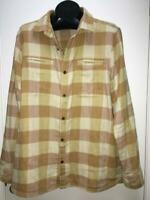 REI flannel LS shirt L beige yellow plaid thick outdoors