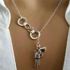 Stylish 1Pcs Handcuff and Gun Lariat Necklace Pendant Necklace C