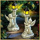 Angel Cherub Statue Sculpture w Solar Lantern Outdoor Garden Yard Pathway Decor