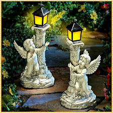 Angel Cherub Statue Sculpture w Solar Lantern Outdoor Garden Yard Pathway Decor
