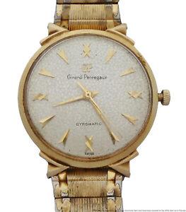14k Gold Girard Perregaux Gyromatic Outrageous Lugs Textured Dial Mid Century