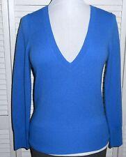 BANANA REPUBLIC SWEATER S/6/8 Blue 100% CASHMERE V Neck Womens Long Sleeve