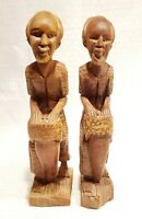 "Vintage Wood Sculpture Haitian Men 2 Hand Carved Musicians - 11"" Tall"