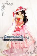 Pink Lolita Dress Floral Gown Love live Nico Yazawa  Cosplay Costume Fan Hat