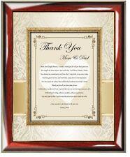 Thank You Parents Wedding Groom Bride Inlaw Gift Poem Frame Plaque Daughter Son