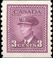 Canada Stamp Mint H 3c 1943 F-VF Scott #266 King George VI War Coil