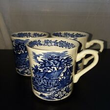 Vintage J. & G. Meakin Romantic England Blue ironstone coffee/tea cups, set/3