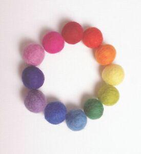 2cm Rainbow Felt Balls x36 Pom Poms Garland Baby Mobile Handmade 100% Wool UK