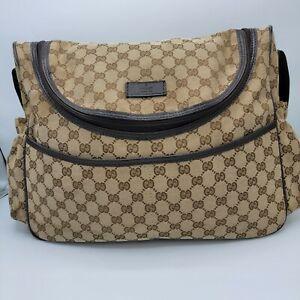 GUCCI GG Guccisima Jacquard Canvas Leather Trim Diaper Bag Authentic Cross Body