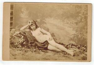 Cabinet card albumen photo Guerard nude woman reclining original early 1860s