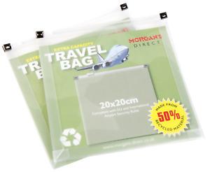 Clear Toiletries Flight Bags Airport Travel Transparent Zip Lock Extra Capacity