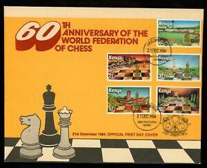 Postal History Kenya #319-323 FDC World Chess Federation FIDE 1984 Nairobi