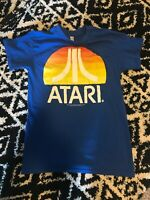 ATARI LOGO T-SHIRT BLUE MENS SMALL S CLASSIC 2600 800 VIDEO GAME CONSOLE