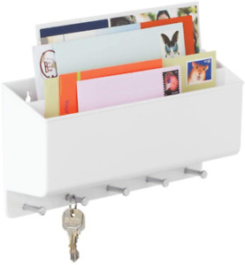 mDesign Wall Mount Plastic Divided Mail Organizer Storage Basket - 2 Sections, 5
