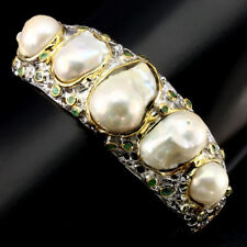Special Item Baroque White Pearl & Emerald 925 Sterling Silver Bangle Handmade