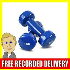 4kg Vinyl Dumbbell Set Solid Aerobic Training Weights Strength Home Workout
