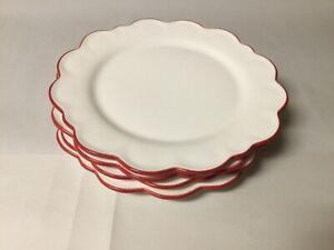 4  Williams Sonoma Aerin Lauder Red Scallop Salad Plates --- New