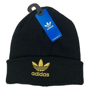adidas Originals Trefoil Beanie Black / Gold Skull Cap Winter Hat One Size