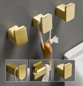 Bathroom Towel Hook Wall Mount Space aluminum Brushed Gold Coat Robe Towel Hook
