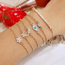 6Pcs/Set Butterfly Eye Star Moon Leaves Crystal Shiny Gold Multi layer Bracelet