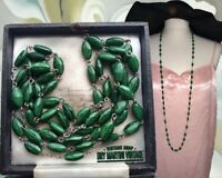 VINTAGE ART DECO CZECH GREEN SATIN GLASS BEADS FLAPPER NECKLACE CELTIC GIFT