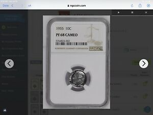 1955 Proof Roosevelt Dime PF68 Cameo 10c NGC