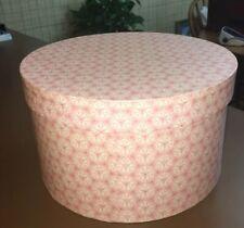 "Vintage Beautiful Pink White Designed Cardboard Hat Box 12.5 x 7.25"""