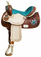 "13"" Teal Double T Youth - Pony Saddle w Hair-on Zebra Print Seat & Accents"