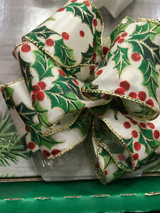 Luxury Wired-Edged RIBBON Holly Christmas Plant  Extra wide 6.3cm/2.5in