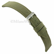 22mm Morellato Padded Stitched Genuine Cordura Canvas Army Green Watch Band