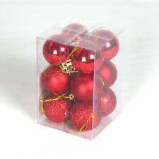 PACK OF 12 4CM ASSORTED CHRISTMAS XMAS TREE DECORATION SHATTERPROOF BAUBLE BALLS