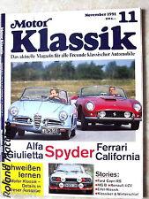 MOTOR KLASSIK 11-91+ALFA GIULIETA+FERRARI 250 SPYDER+FORD CAPRI RS+RENAULT 4 CV