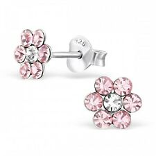 Girls Childrens Sterling Silver Light Pink Crystal Flower Stud Earrings - Boxed