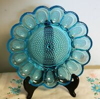 Vintage Indiana Glass Hobnail Deviled Egg Server Plate Dish In Horizon Blue 1960
