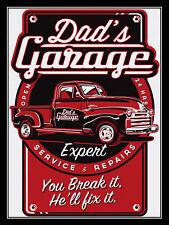 Dad's Garage, Retro metal Sign/Plaque, Gift, Home, Garage, Motors