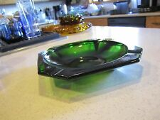 VINTAGE EMERALD GREEN DEPRESSION GLASS SQUARE ASHTRAY  ANGLED CORNERS 8.25X8.25