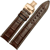 18-22mm Handmade Genuine Leather Watch Band Deployant Clasp Strap For Pebble