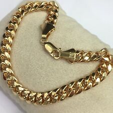 18k Solid Yellow Gold Men Cuban Curb Link Bracelet, 8 Inches, 15.51Grams