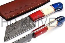 8 inch HD Custom Damascus steel Hunter skinner knife American flag handle Q-182