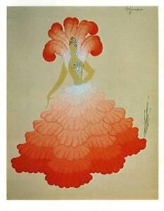"""1978 Vintage Erte Art Deco Print """"Blondes D'espagne Costume"""" Fashion Book Plate"""