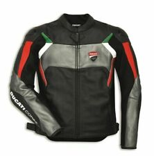 Ducati Corse C3 Leather Motorcycle Motorbike Jacket Tricolor Silver SALE