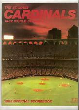 1983 SCOREBOOK, CARD ST. LOUIS CARDINALS vs. EXPOS