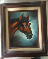 Brown Horse Painting Oil On Canvas Signed Jenkins Horse Equestrian Framed
