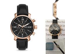 FOSSIL Mens Wrist Watch Rhett Chronograph Gold Black Leather Watches BNIB RP£139