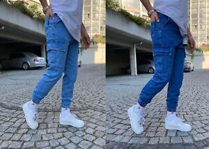 New Mens Cargo Combat Designer Cuffed Zipper Jogger Jeans Denim Pants Trousers