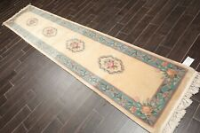 "2'6"" x 11'11"" Hand Knotted Wool Thick Pile French Aubusson Area Rug Runner Ivory"