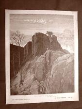 Incisione Gustave Dorè del 1890 Dante ascende monte Divina Commedia Purgatorio