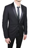 ÉLÉGANT MEN'S SUIT BLACK SATIN SHINY SET SMOKING SLIM FIT TIGHT
