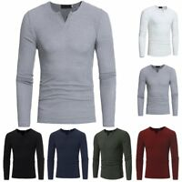 Fashion Men's Slim Fit V Neck Long Sleeve Tee Shirt Casual T-shirt Tops Pullover